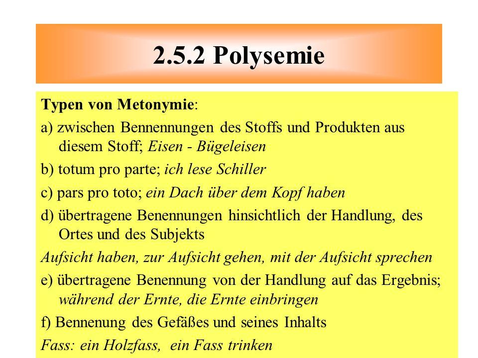 2.5.2 Polysemie Typen von Metonymie: