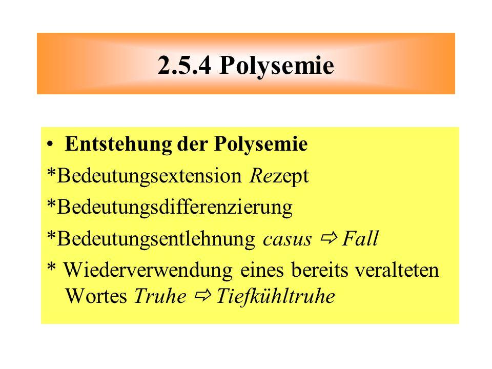 2.5.4 Polysemie Entstehung der Polysemie *Bedeutungsextension Rezept