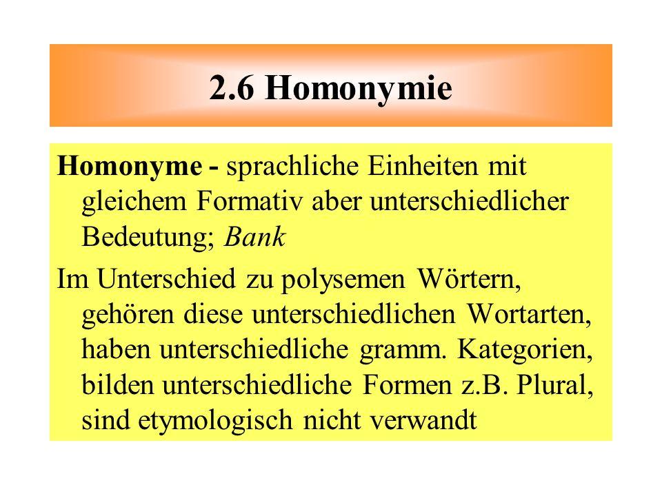 2.6 Homonymie Homonyme - sprachliche Einheiten mit gleichem Formativ aber unterschiedlicher Bedeutung; Bank.