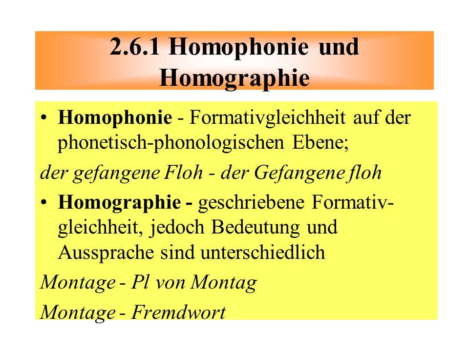 2.6.1 Homophonie und Homographie