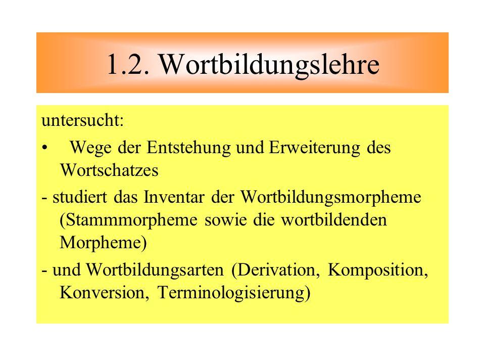 1.2. Wortbildungslehre untersucht: