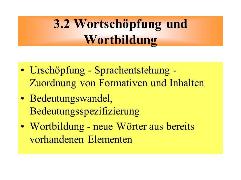 3.2 Wortschöpfung und Wortbildung