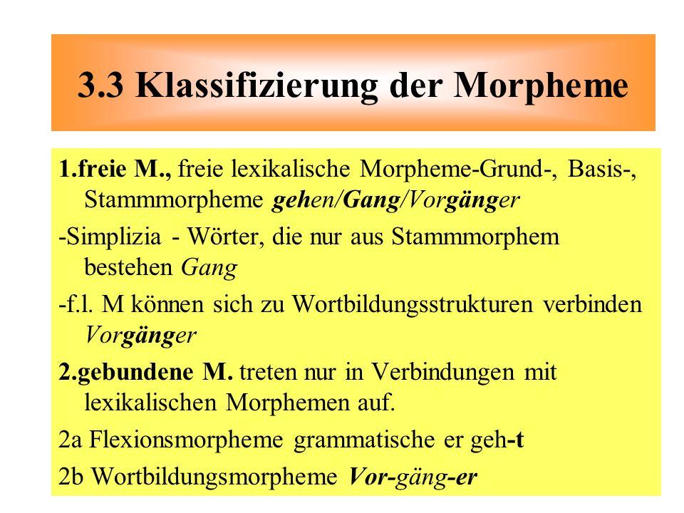 3.3 Klassifizierung der Morpheme