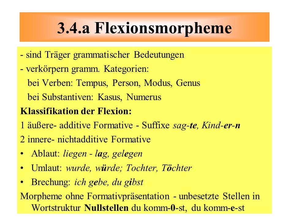 3.4.a Flexionsmorpheme - sind Träger grammatischer Bedeutungen
