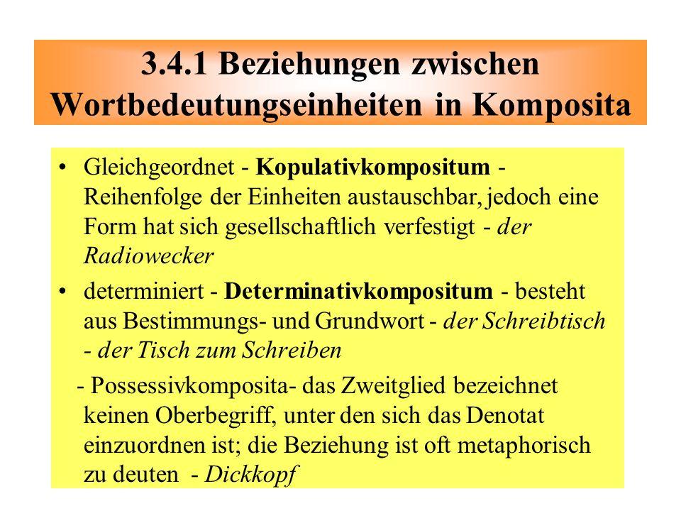 3.4.1 Beziehungen zwischen Wortbedeutungseinheiten in Komposita
