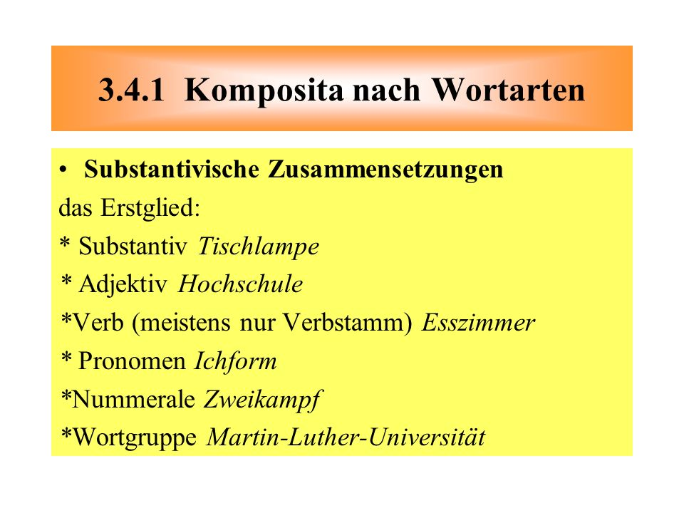 3.4.1 Komposita nach Wortarten