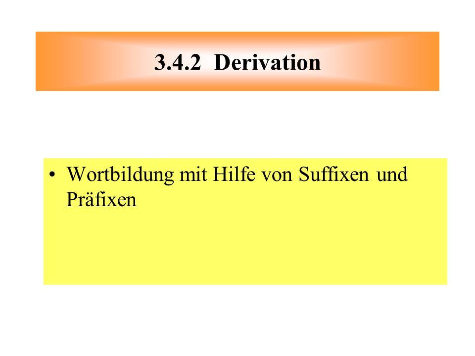 3.4.2 Derivation Wortbildung mit Hilfe von Suffixen und Präfixen