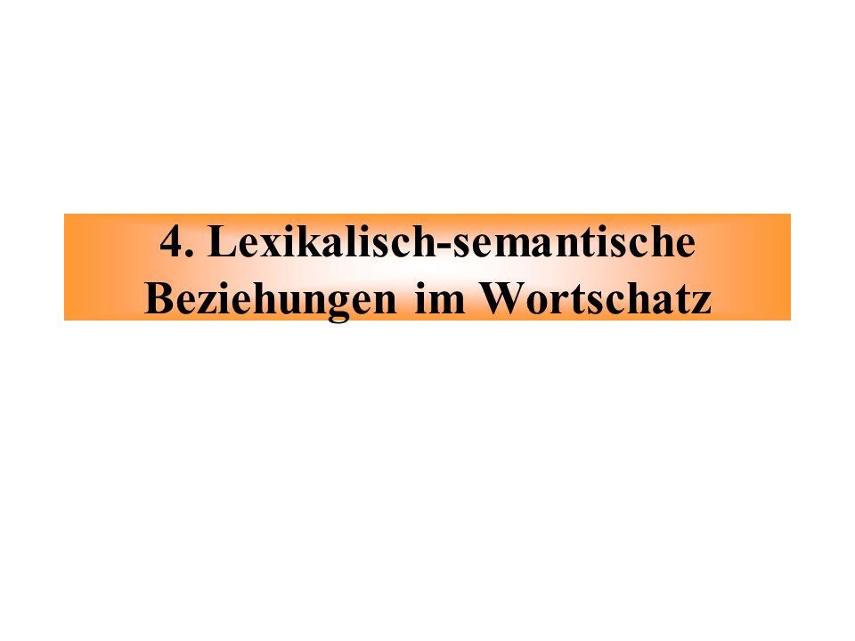 4. Lexikalisch-semantische Beziehungen im Wortschatz