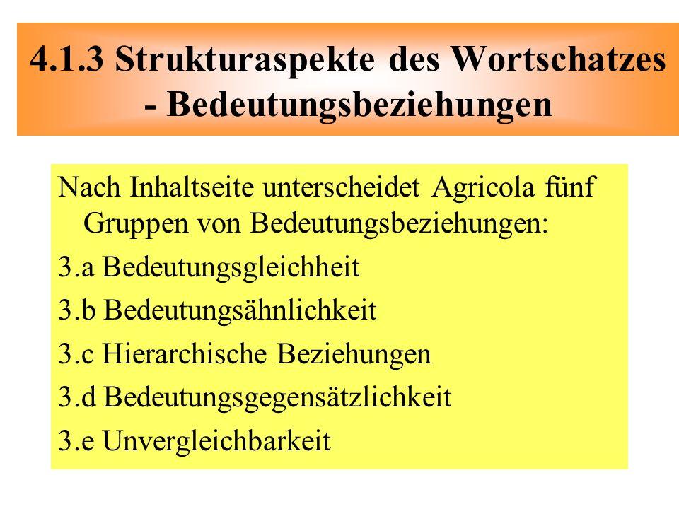 4.1.3 Strukturaspekte des Wortschatzes - Bedeutungsbeziehungen