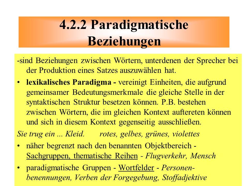 4.2.2 Paradigmatische Beziehungen