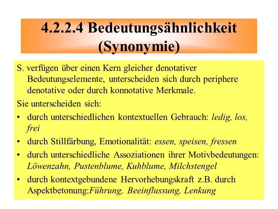 4.2.2.4 Bedeutungsähnlichkeit (Synonymie)