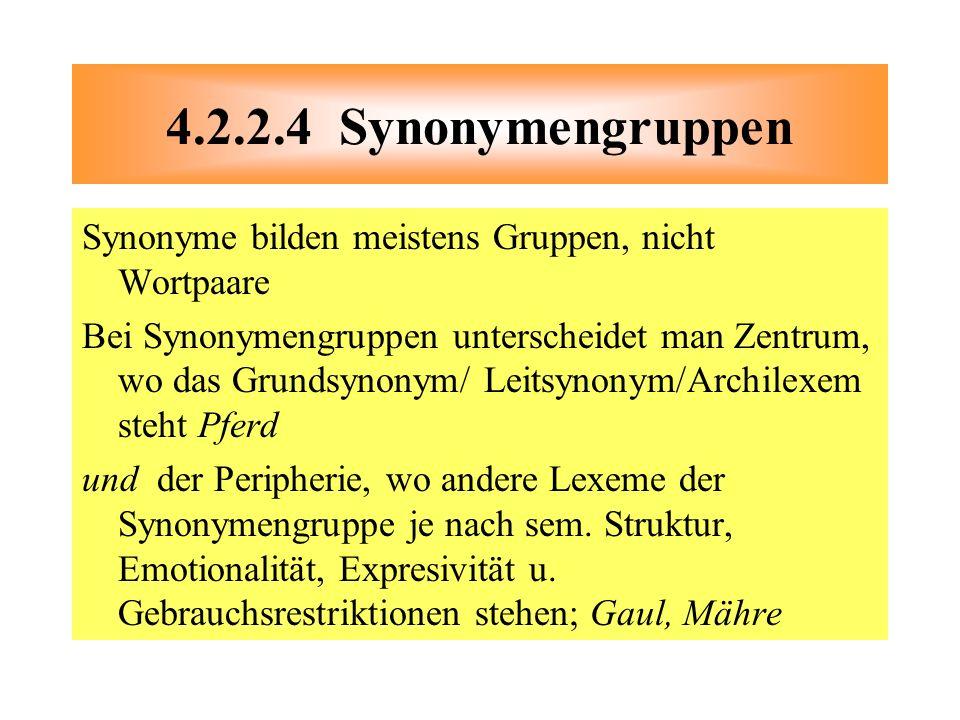 4.2.2.4 Synonymengruppen Synonyme bilden meistens Gruppen, nicht Wortpaare.