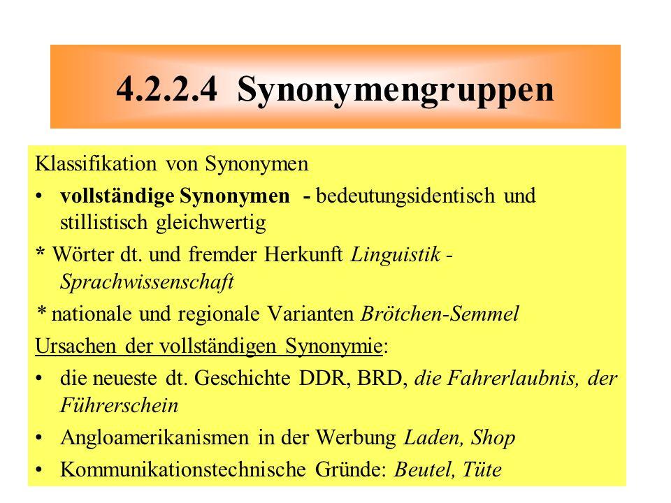 4.2.2.4 Synonymengruppen Klassifikation von Synonymen