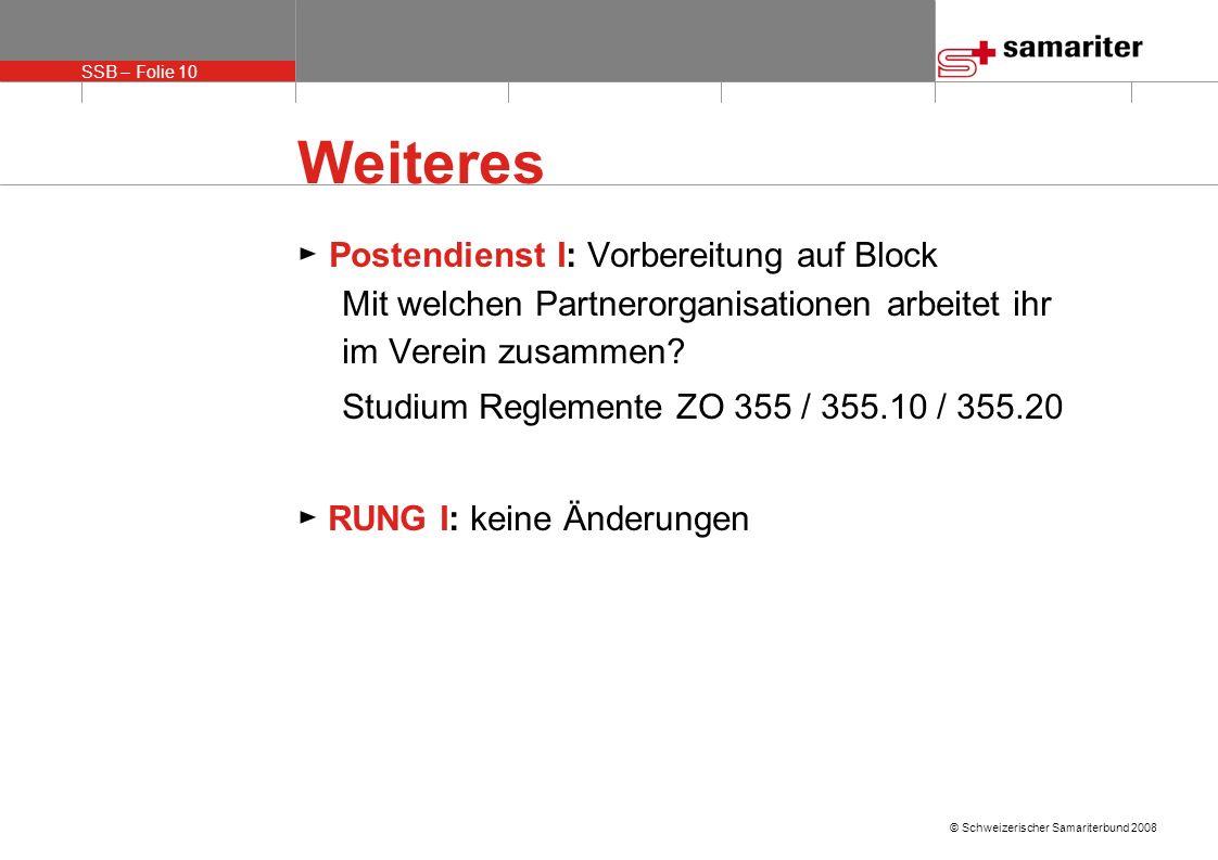 Weiteres ► Postendienst I: Vorbereitung auf Block Mit welchen Partnerorganisationen arbeitet ihr im Verein zusammen