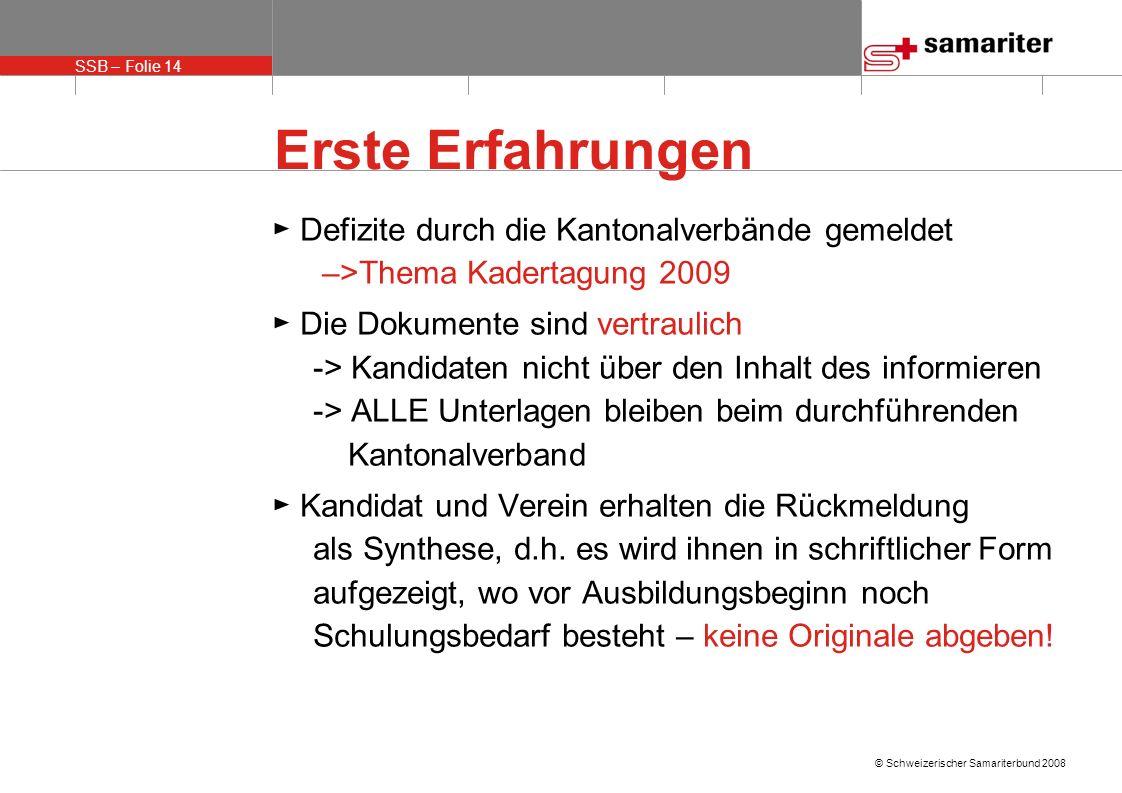 Erste Erfahrungen ► Defizite durch die Kantonalverbände gemeldet –>Thema Kadertagung 2009.