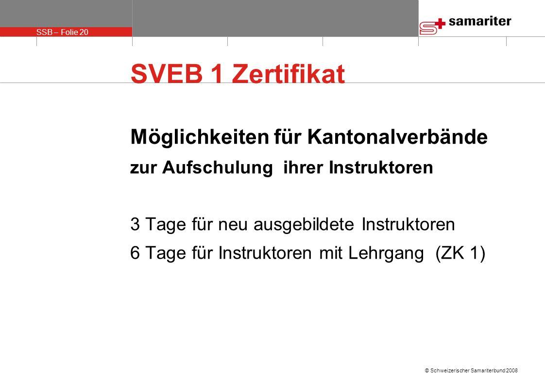 SVEB 1 Zertifikat Möglichkeiten für Kantonalverbände
