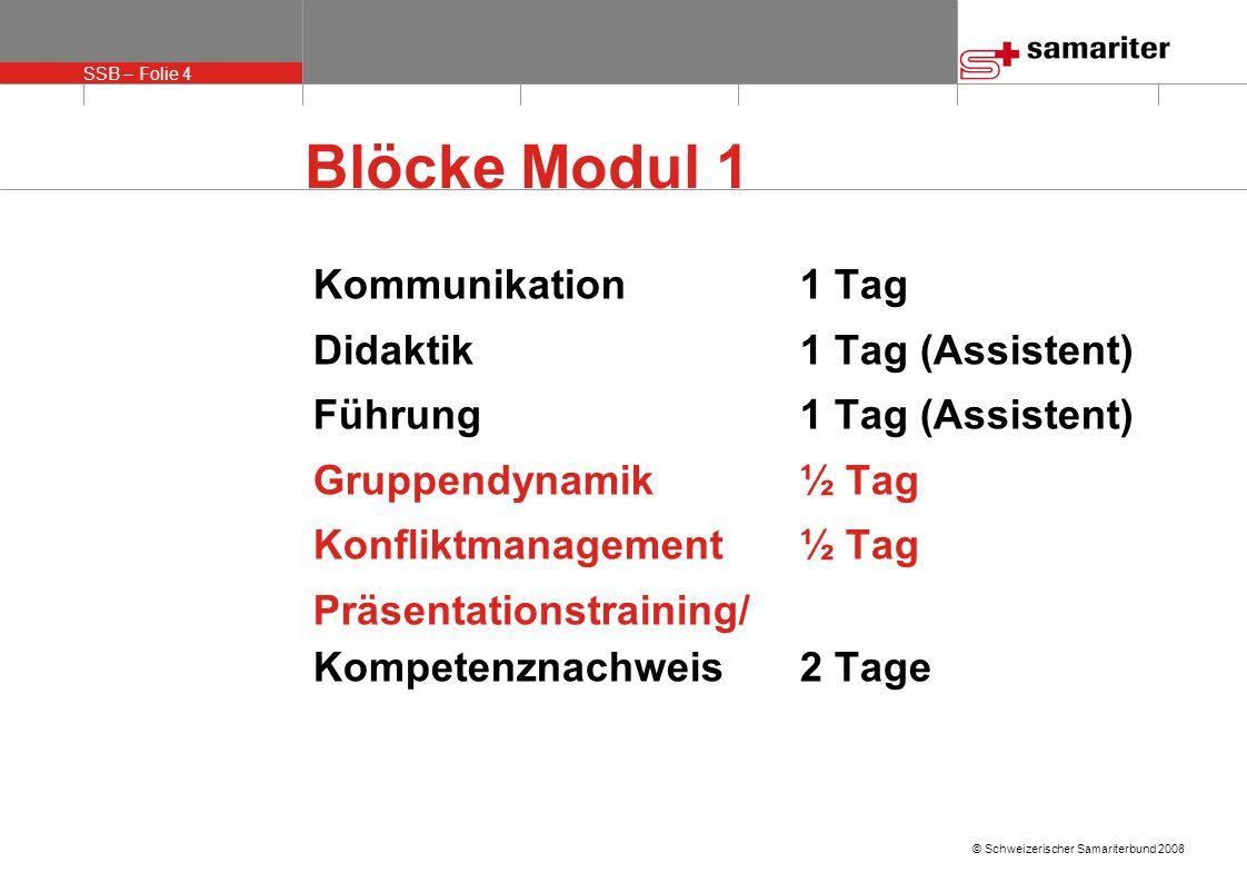 Blöcke Modul 1 Kommunikation 1 Tag Didaktik 1 Tag (Assistent)