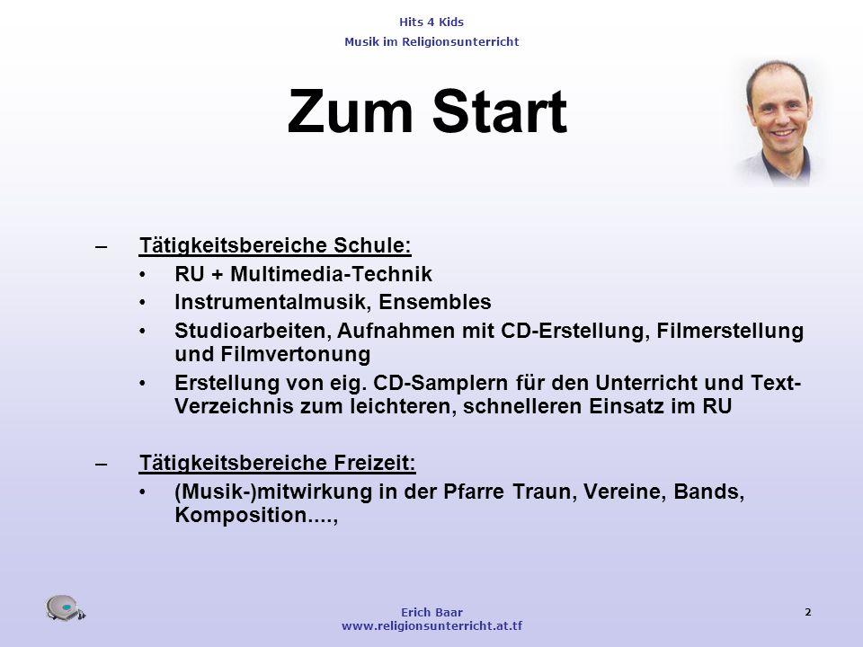 Zum Start Tätigkeitsbereiche Schule: RU + Multimedia-Technik