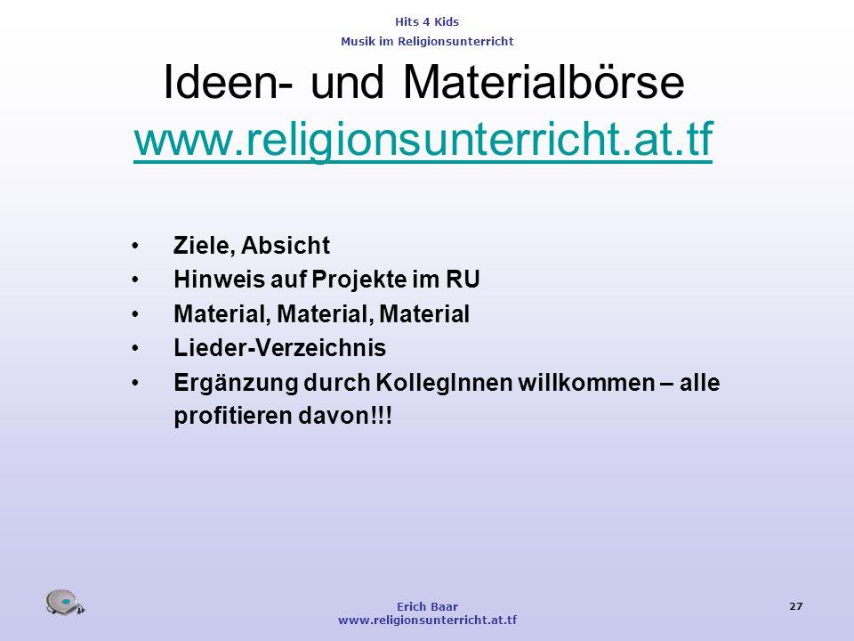 Ideen- und Materialbörse www.religionsunterricht.at.tf