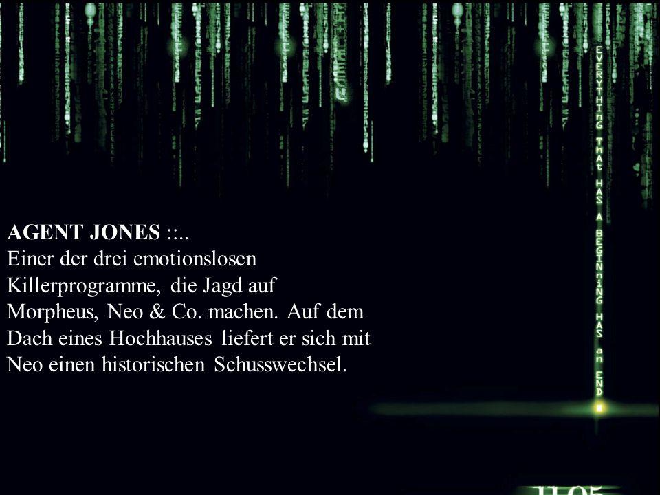 AGENT JONES ::.. Einer der drei emotionslosen Killerprogramme, die Jagd auf Morpheus, Neo & Co.