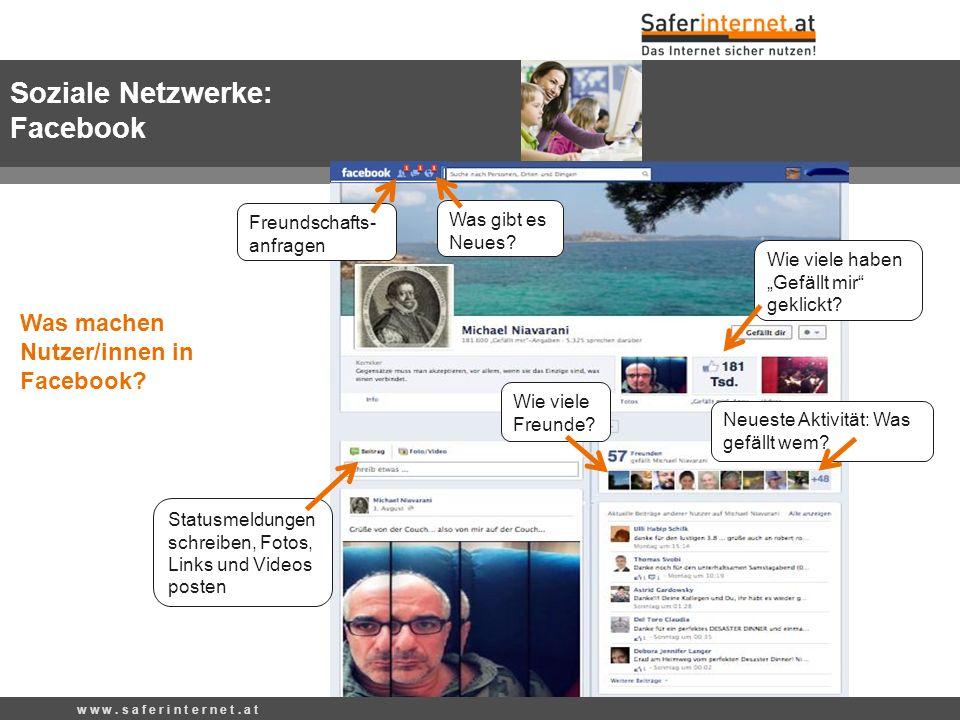 Soziale Netzwerke: Facebook Was machen Nutzer/innen in Facebook