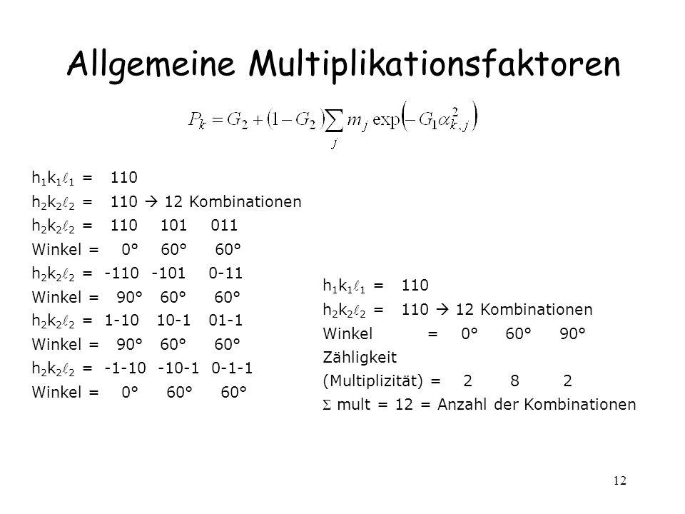 Allgemeine Multiplikationsfaktoren