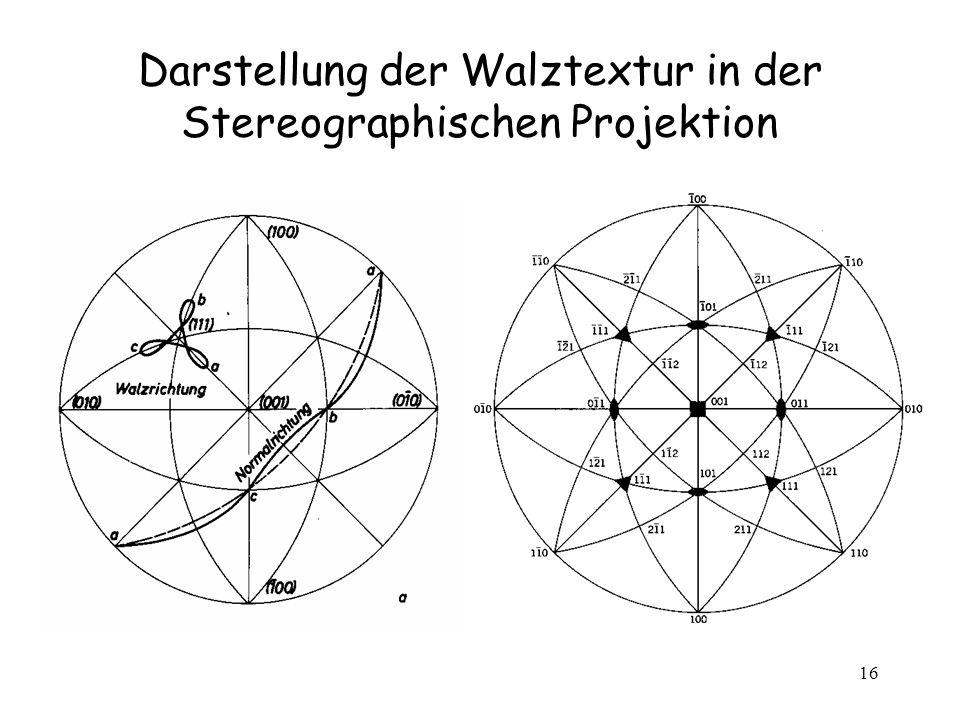 Darstellung der Walztextur in der Stereographischen Projektion