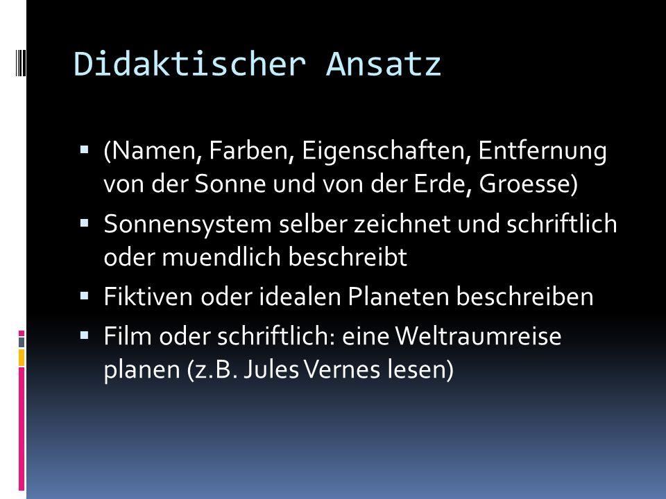 Didaktischer Ansatz (Namen, Farben, Eigenschaften, Entfernung von der Sonne und von der Erde, Groesse)