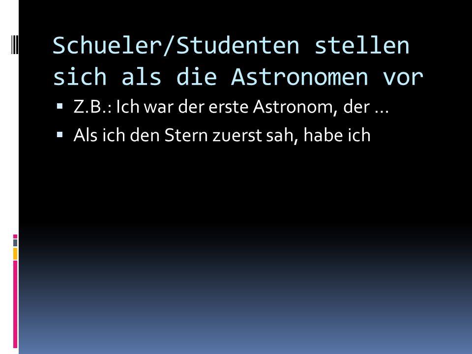 Schueler/Studenten stellen sich als die Astronomen vor