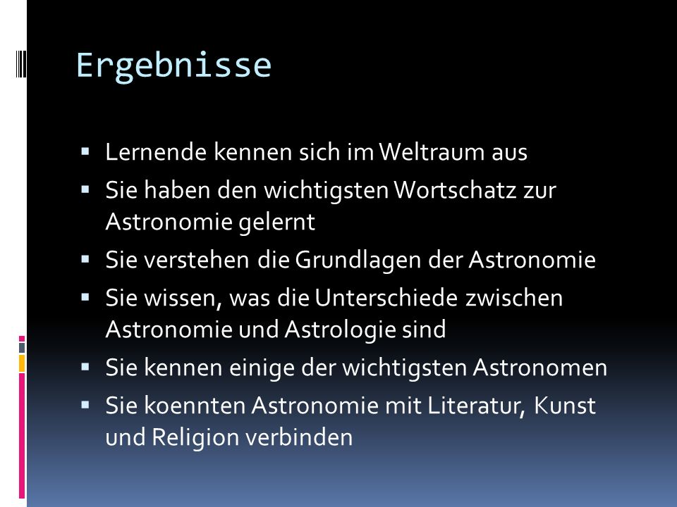 Ergebnisse Lernende kennen sich im Weltraum aus