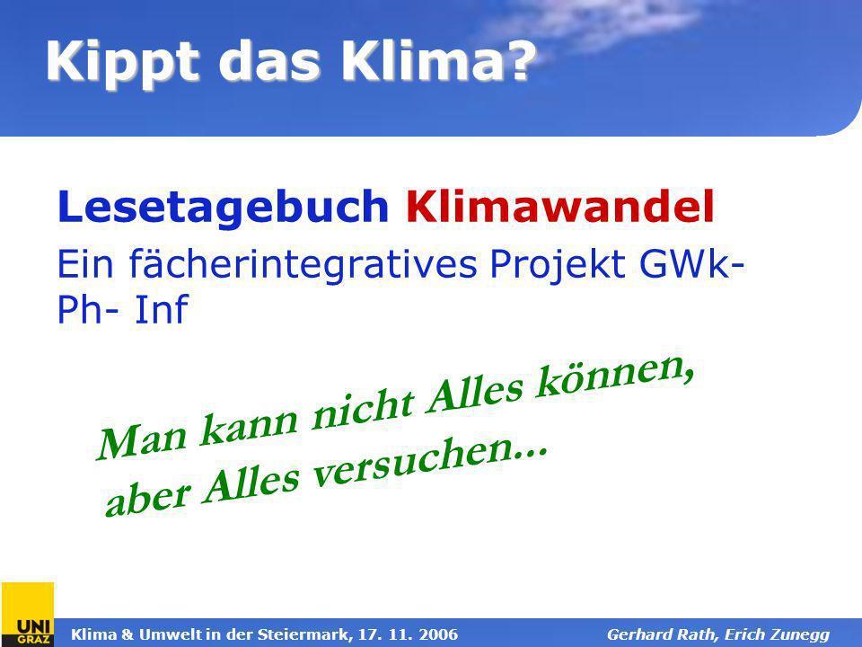 Lesetagebuch Klimawandel Ein fächerintegratives Projekt GWk-Ph- Inf