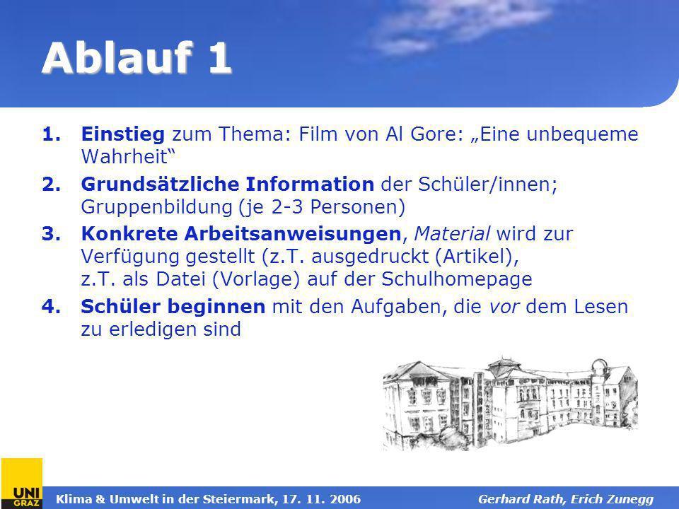 """Ablauf 1 Einstieg zum Thema: Film von Al Gore: """"Eine unbequeme Wahrheit"""