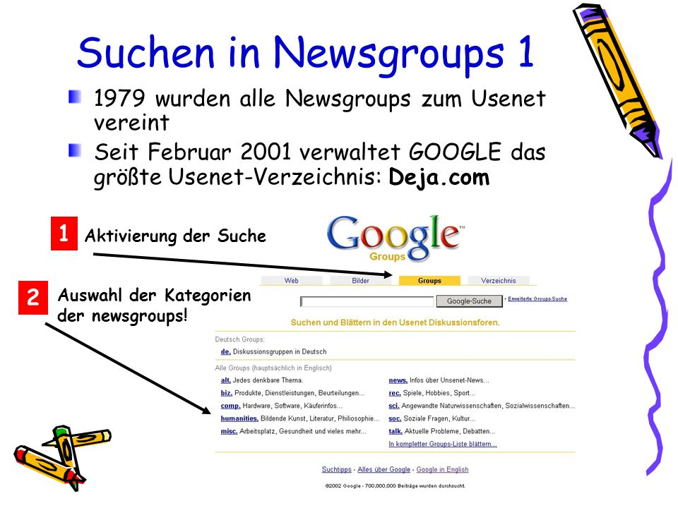 Suchen in Newsgroups 1 1979 wurden alle Newsgroups zum Usenet vereint