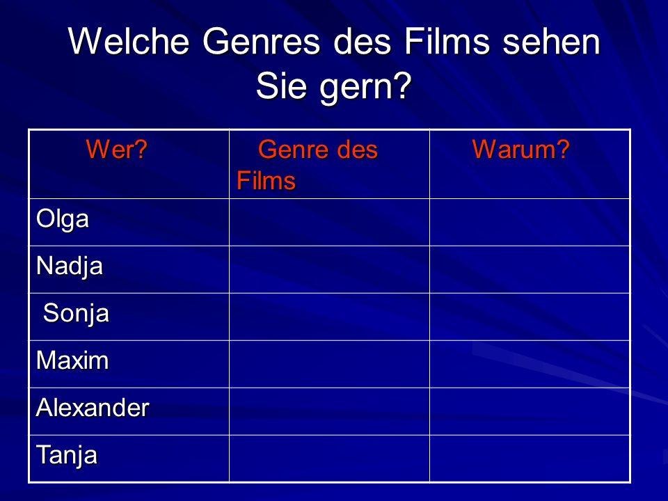 Welche Genres des Films sehen Sie gern