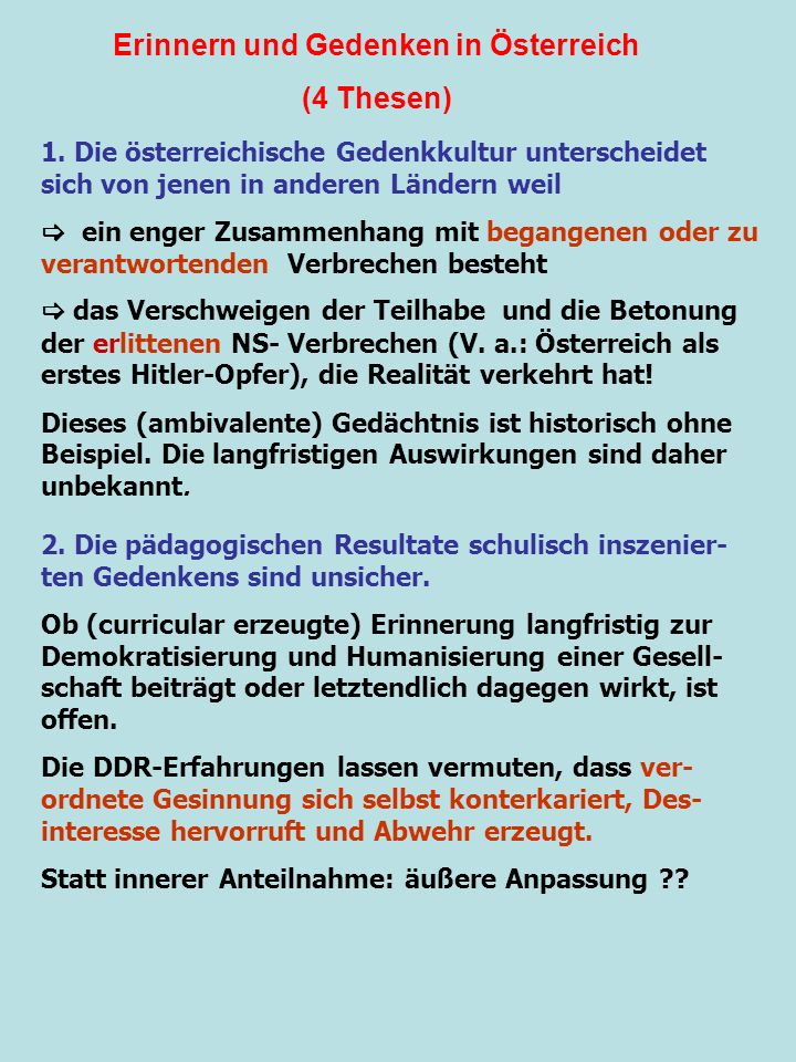 Erinnern und Gedenken in Österreich