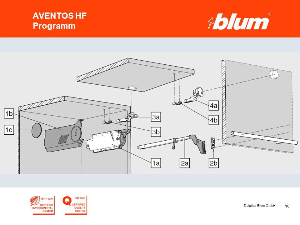 AVENTOS HF Programm © Julius Blum GmbH