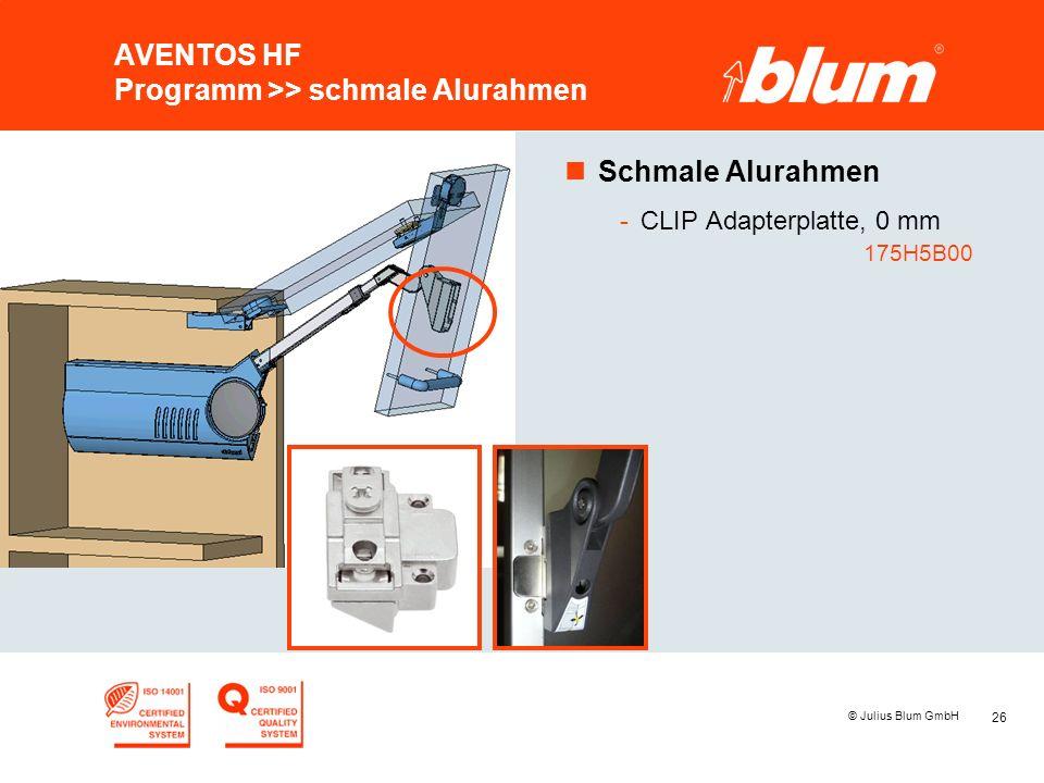 AVENTOS HF Programm >> schmale Alurahmen