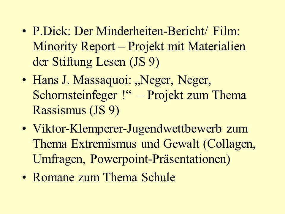 P.Dick: Der Minderheiten-Bericht/ Film: Minority Report – Projekt mit Materialien der Stiftung Lesen (JS 9)