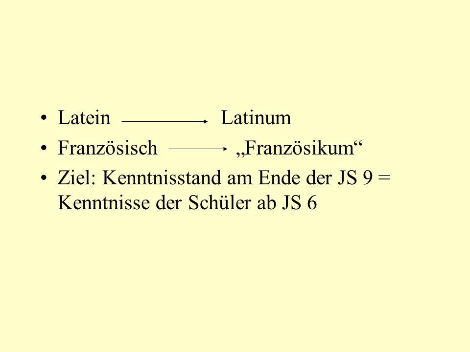 """Latein Latinum Französisch """"Französikum Ziel: Kenntnisstand am Ende der JS 9 = Kenntnisse der Schüler ab JS 6."""