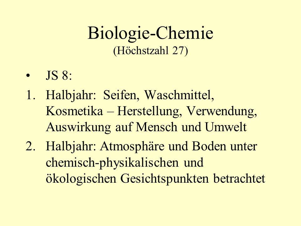 Biologie-Chemie (Höchstzahl 27)