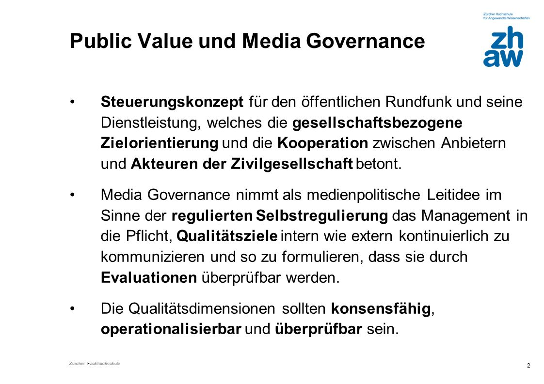 Public Value und Media Governance