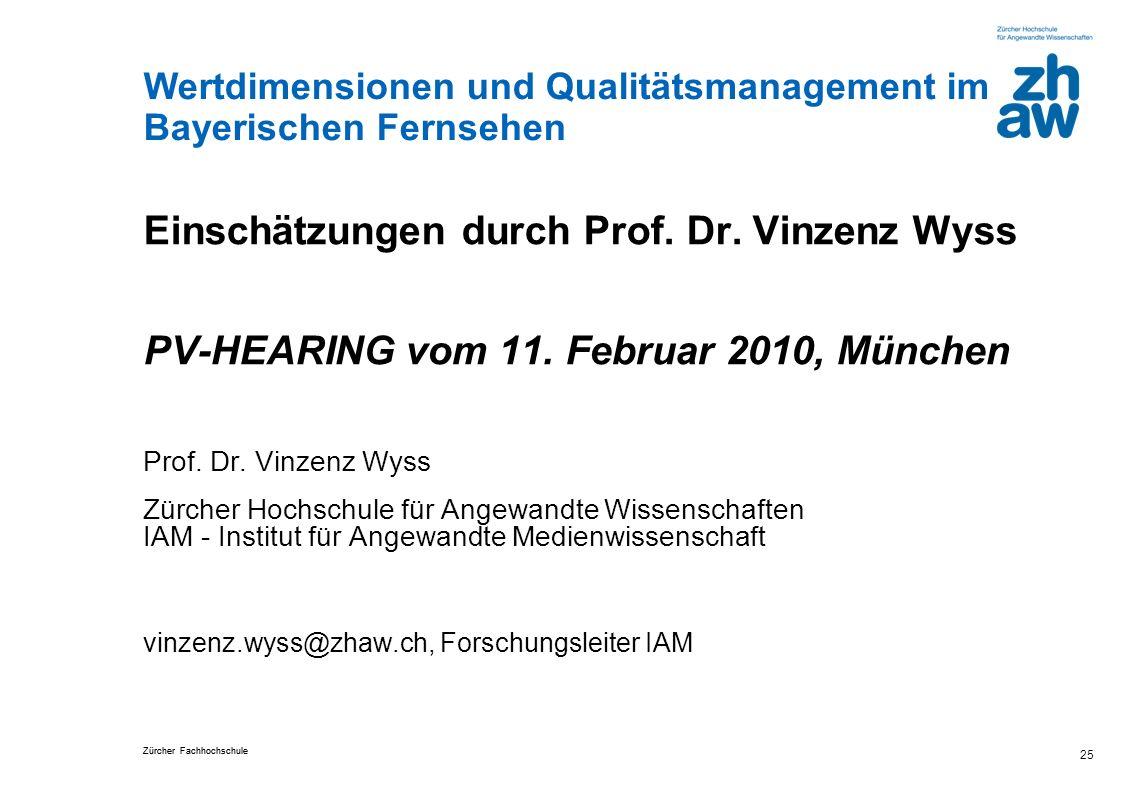 Einschätzungen durch Prof. Dr. Vinzenz Wyss