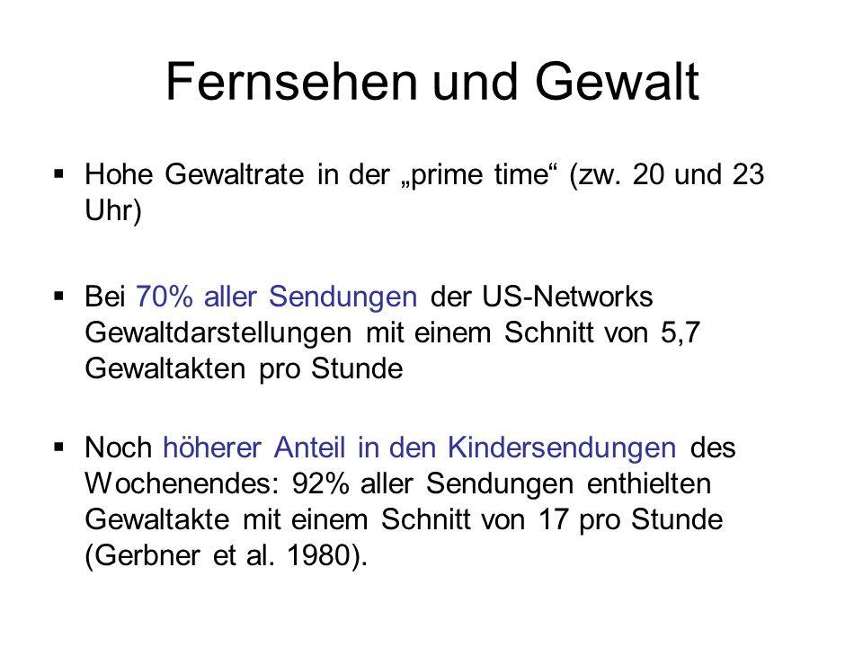 """Fernsehen und Gewalt Hohe Gewaltrate in der """"prime time (zw. 20 und 23 Uhr)"""