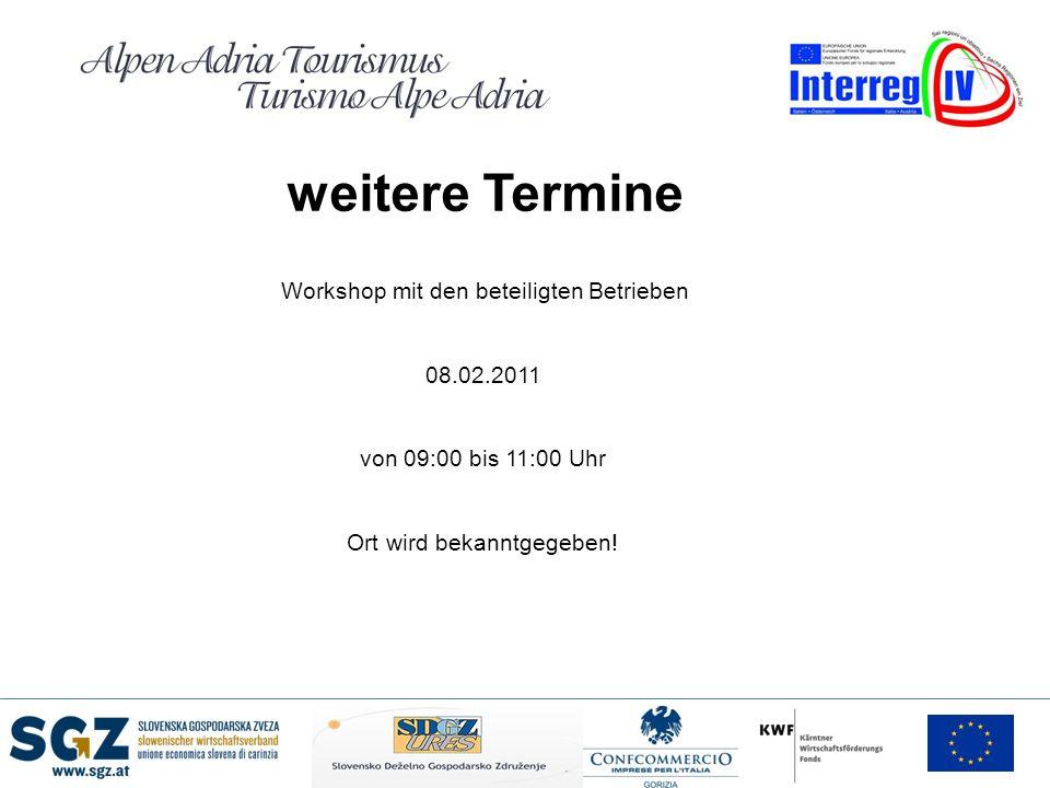 weitere Termine Workshop mit den beteiligten Betrieben 08.02.2011