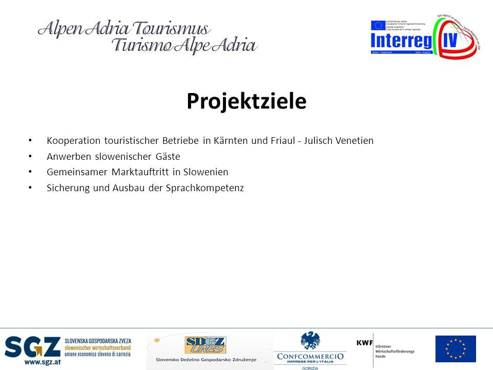 Projektziele Kooperation touristischer Betriebe in Kärnten und Friaul - Julisch Venetien. Anwerben slowenischer Gäste.