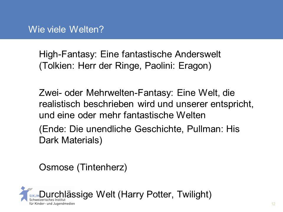 Wie viele Welten High-Fantasy: Eine fantastische Anderswelt (Tolkien: Herr der Ringe, Paolini: Eragon)