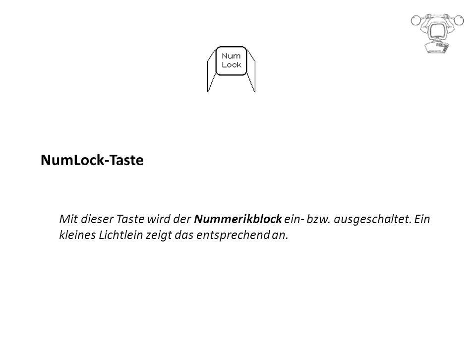 NumLock-Taste Mit dieser Taste wird der Nummerikblock ein- bzw.