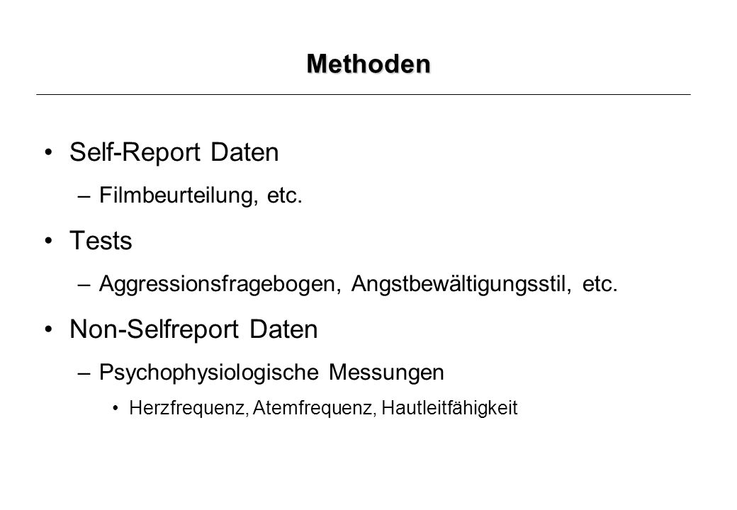 Methoden Self-Report Daten Tests Non-Selfreport Daten