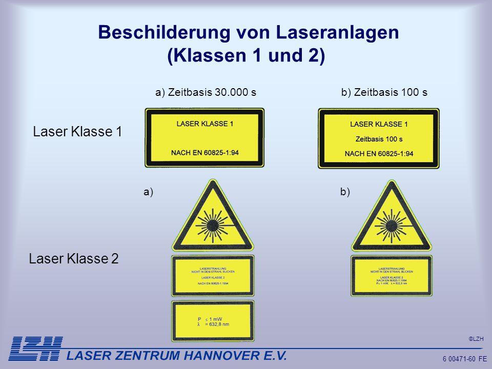 Beschilderung von Laseranlagen (Klassen 1 und 2)