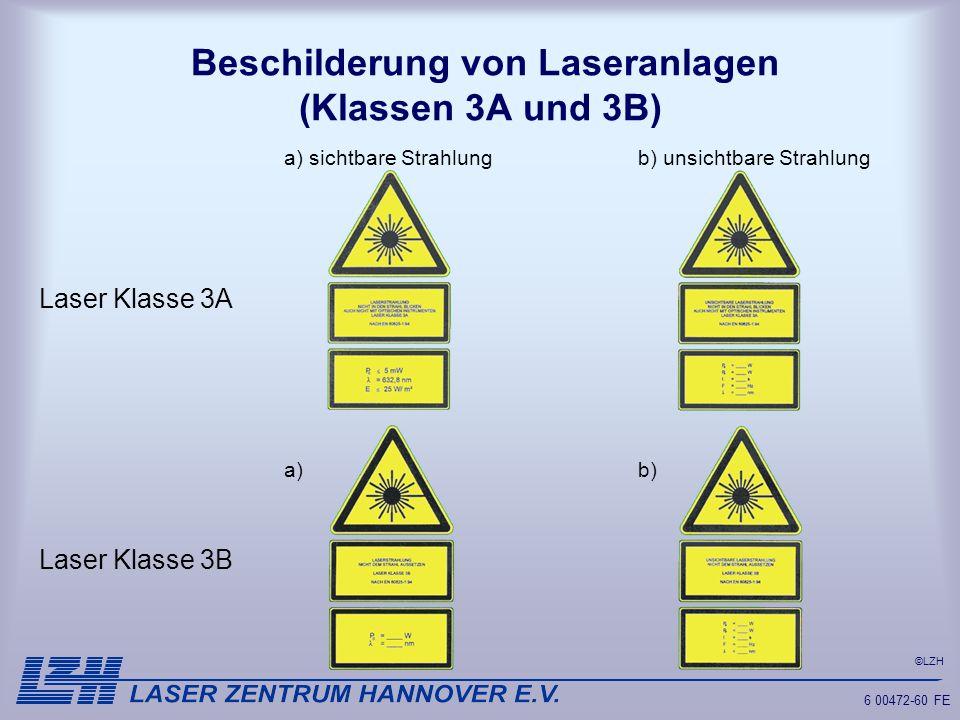 Beschilderung von Laseranlagen (Klassen 3A und 3B)
